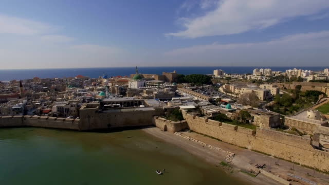 aerial view of acre (old akko) along the mediterranean sea - ancient city with port,  - haifa video stock e b–roll