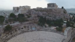 Aerial view of Acropolis and Parthenon in Athens, Greece