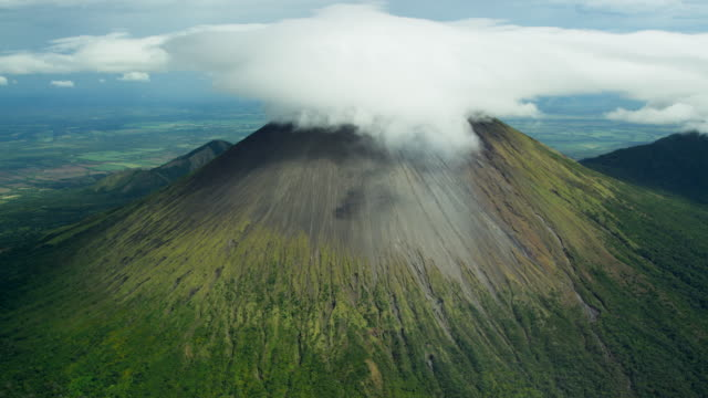 Aerial View of Active Central American Volcano with Smoke