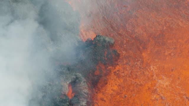 vídeos y material grabado en eventos de stock de aerial view of active volcano toxic gas emissions - 2018