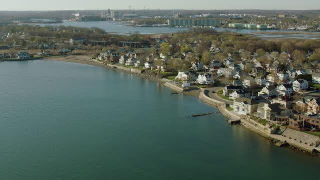 aerial view of adams shore near boston - 北半球点の映像素材/bロール
