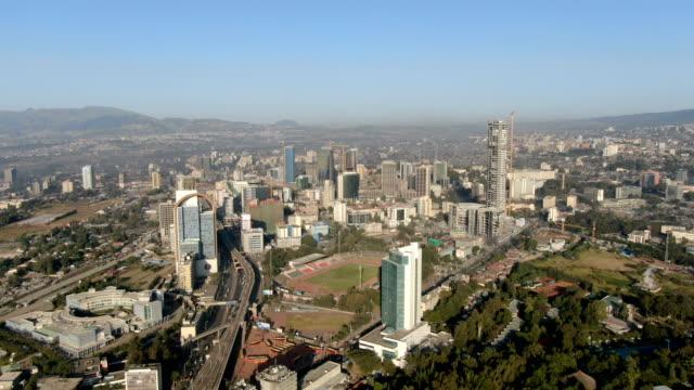 aerial view of addis ababa city center/ ethiopia - アジスアベバ点の映像素材/bロール