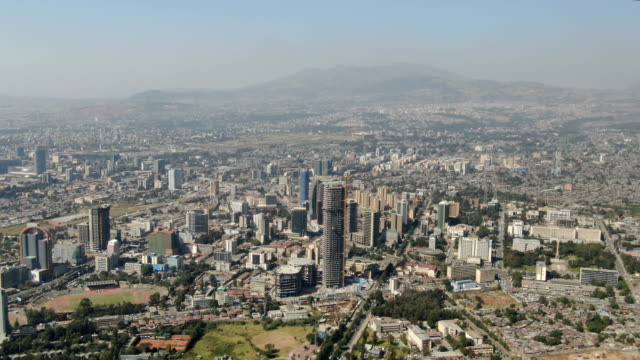 aerial view of addis ababa city center with fast growing skyscrapers/ ethiopia - horn of africa stock videos & royalty-free footage