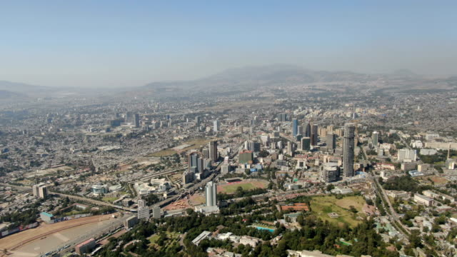 aerial view of addis ababa city center with tall buildings, downton/ ethiopia - horn of africa stock videos & royalty-free footage