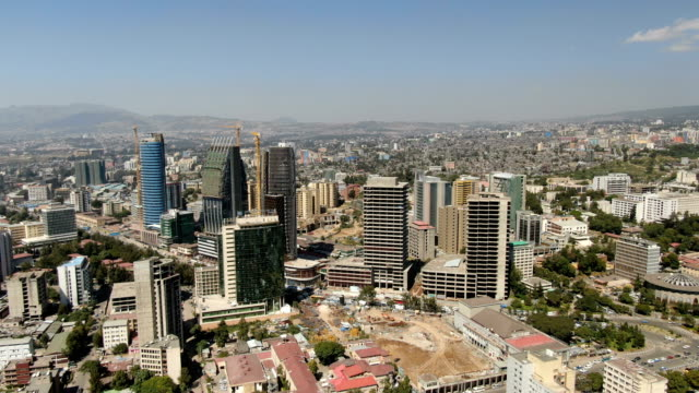 aerial view of addis ababa city center with tall buildings, downton/ ethiopia - アジスアベバ点の映像素材/bロール