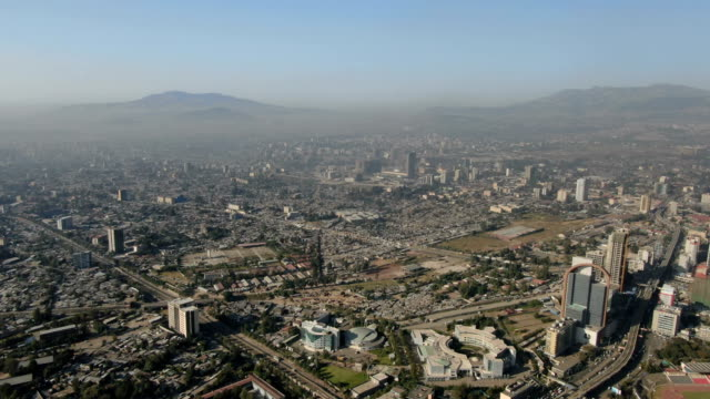 aerial view of addis ababa downtown with fast growing buisness center/ ethiopia - アジスアベバ点の映像素材/bロール