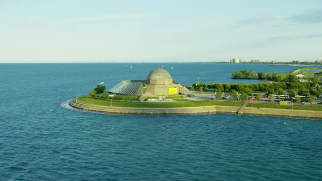 Aerial view of Adler Planetarium and shoreline Chicago