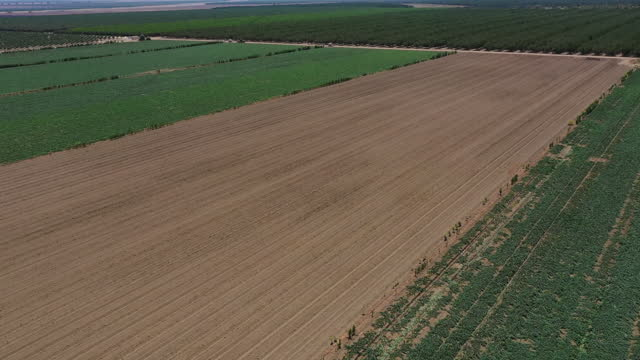 vídeos y material grabado en eventos de stock de aerial view of agricultural fields as drought continues in firebaugh, california, u.s., on tuesday, july 13, 2021. battered by drought and heat waves... - campo tierra cultivada