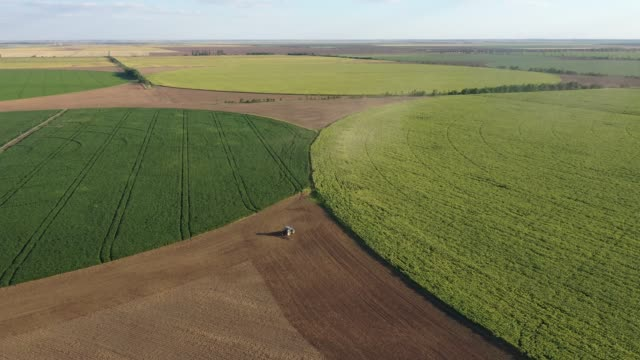 aerial view of agriculture field in shape of circles - tractor stock videos & royalty-free footage