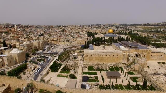 aerial view of al-aqsa mosque and  western wall, temple mount and dome of the rock/ jerusalem old city - al aqsa mosque stock videos and b-roll footage
