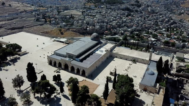 aerial view of al-aqsa mosque / jerusalem old city - jerusalem stock videos & royalty-free footage