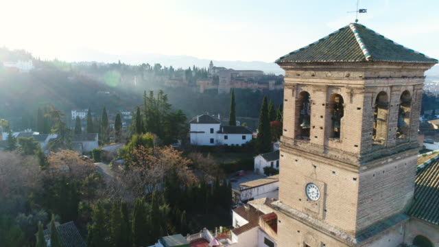 Aerial view of Albaicín, a district of Granada and Alhambra Palace (UNESCO World Heritage Site)