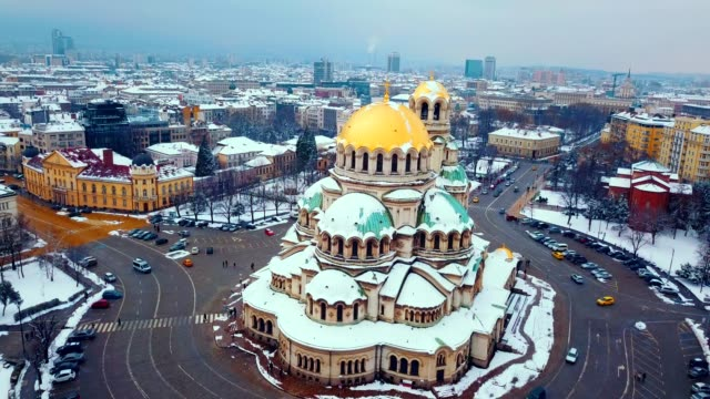 aerial view of alexander nevsky cathedral / sofia - bulgaria - greek culture stock videos & royalty-free footage