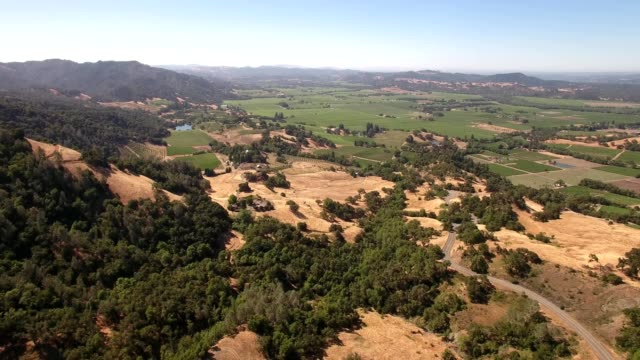 Aerial view of Alexander Valley countryscape in Geyserville California