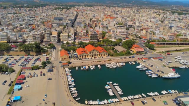 Aerial view of Alexandroupolis, the northern Greek city of Thrace with its lighthouse and the harbour at summer