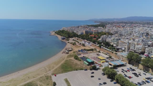 HDR Aerial view of Alexandroupolis, the northern Greek city of Thrace with its lighthouse and the harbour at summer