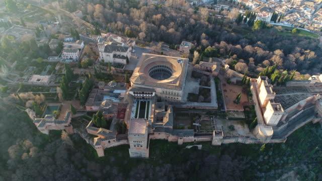 vídeos y material grabado en eventos de stock de aerial view of alhambra palace (unesco world heritage site) - imágenes