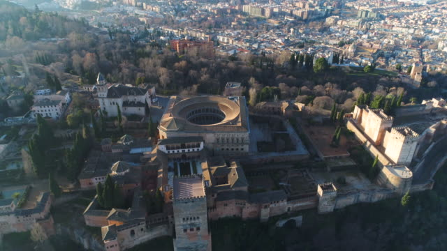 aerial view of alhambra palace (unesco world heritage site) - unesco welterbestätte stock-videos und b-roll-filmmaterial