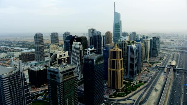 Aerial view of Almas Tower city Skyscrapers Dubai
