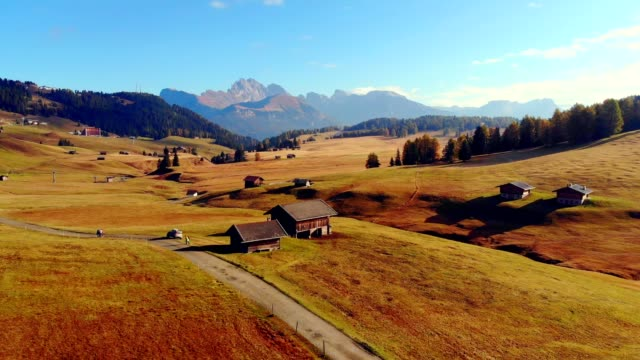 aerial view of alpe di siusi - dolomites/ south tyrol - italy - scilia stock videos & royalty-free footage