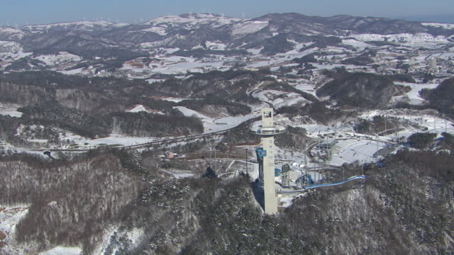 Aerial view of Alpensia Ski Jumping Stadium of Pyeongchang (2018 Winter Olympics) and surrounding landscape in distance
