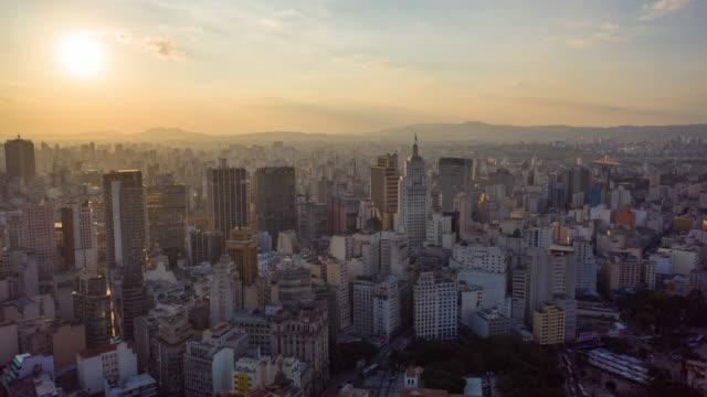 vídeos de stock, filmes e b-roll de aerial view of altino arantes building, called ¨banespao¨, sao paulo, brazil - downtown