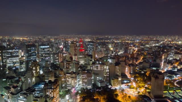 vídeos de stock, filmes e b-roll de aerial view of altino arantes building, called ¨banespao¨, sao paulo, brazil - time lapse