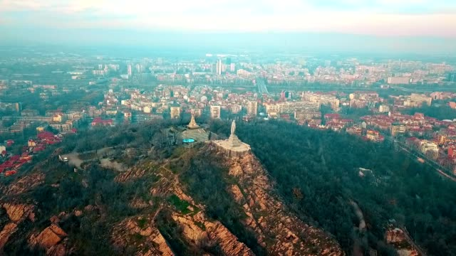 aerial view of alyosha monument / plovdiv - bulgaria - russian culture stock videos & royalty-free footage