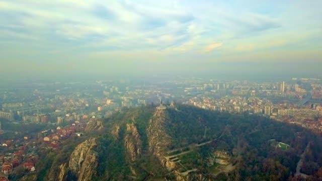 aerial view of alyosha monument / plovdiv - bulgaria - bulgaria stock videos & royalty-free footage