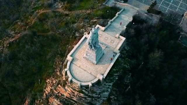 aerial view of alyosha monument / plovdiv - bulgaria - monument stock videos & royalty-free footage
