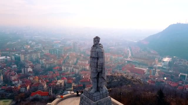 Aerial View of Alyosha Monument / Plovdiv - Bulgaria
