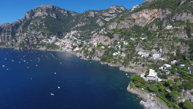 aerial view of amalfi coast. italy - mediterranean culture stock videos & royalty-free footage