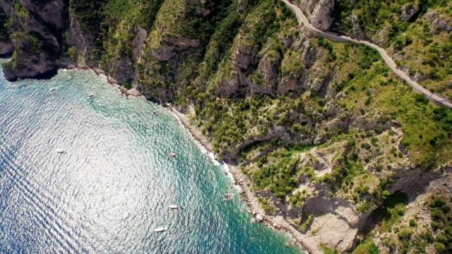 aerial view of amalfi coast - amalfi stock videos and b-roll footage