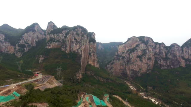 Aerial view of Amazing Scenic Cliff of Mountain, Guizhou Province, China