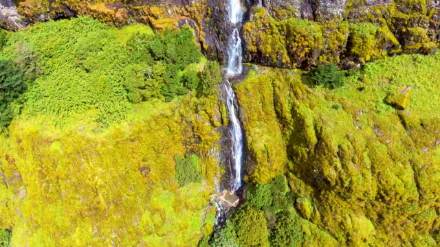 vídeos de stock e filmes b-roll de aerial view of amazing waterfall along beautiful green mountain, jiaozi mountain, yunnan province, china - coniferous