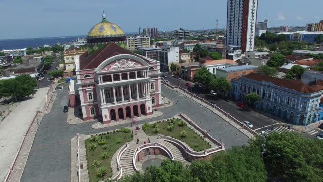 aerial view of amazon theater in manaus, brazil - international landmark stock videos & royalty-free footage