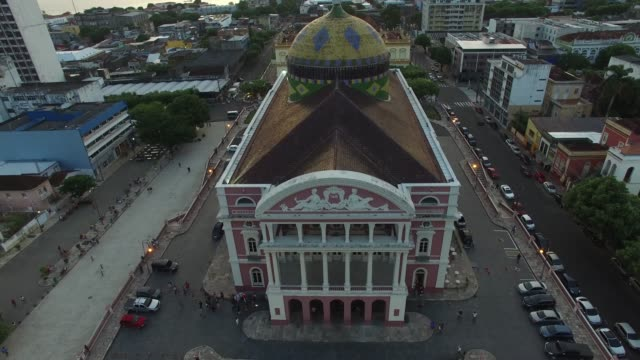 aerial view of amazon theater in manaus, brazil - dome stock videos & royalty-free footage