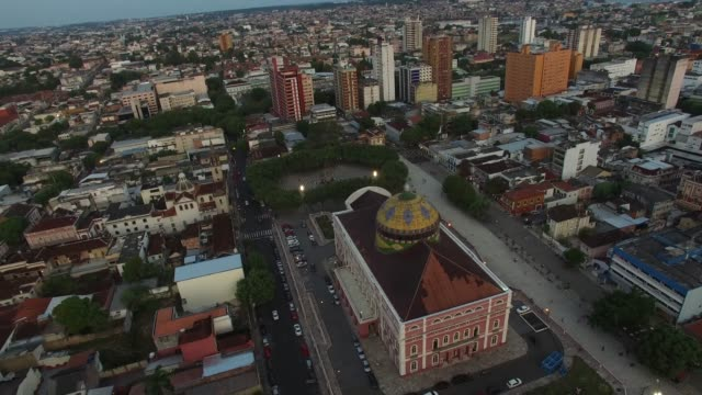 aerial view of amazon theater in manaus, brazil - brazilian culture stock videos & royalty-free footage