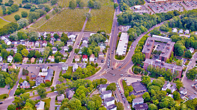 aerial view of american suburb. city. nature. house. - tall high stock videos & royalty-free footage