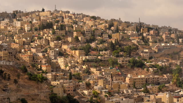 aerial view of amman city, the capital of jordan - mid section stock videos & royalty-free footage