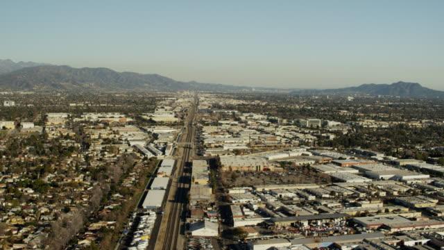 aerial view of amtrak railway station los angeles - burbank stock videos & royalty-free footage