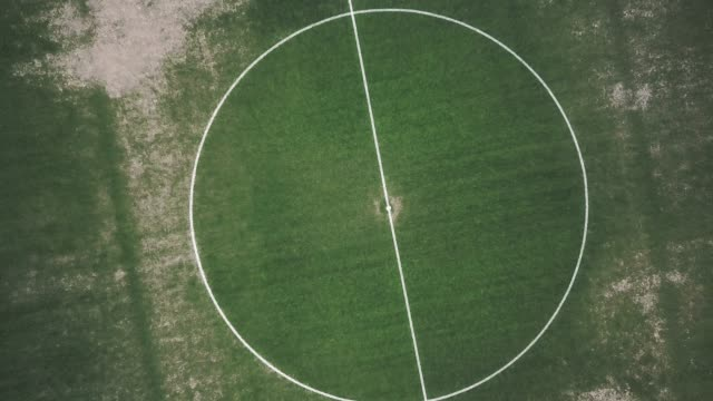 aerial view of an abandoned soccer field - football pitch stock videos and b-roll footage