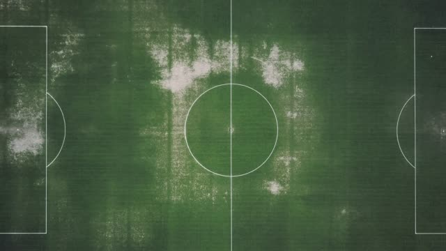 aerial view of an abandoned soccer field - football pitch stock videos & royalty-free footage