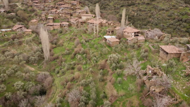 aerial view of an abandoned village in western anatolia - postwar stock videos & royalty-free footage