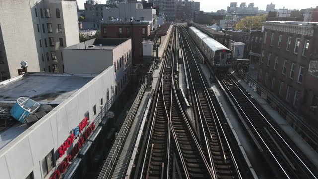aerial view of an above ground subway - underground train stock videos & royalty-free footage