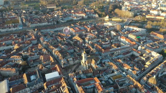 vidéos et rushes de aerial view of an ancient medieval french town in besancon at dusk, france - quartier résidentiel