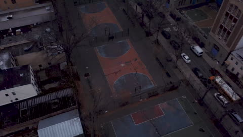 aerial view of an empty basketball court - sports court stock videos & royalty-free footage