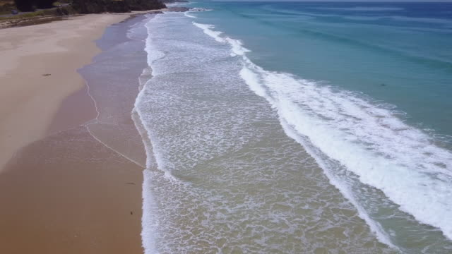Aerial view of an empty beach at Apollo Bay with waves breaking