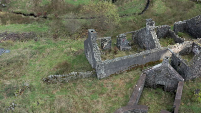 aerial view of an old derelict house in south west scotland - galloway scotland stock videos & royalty-free footage