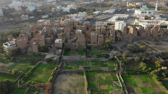 aerial view of an old village with traditional mud houses, asir province, dhahran al janub, saudi arabia on december 6, 2018 in dhahran al janub,... - full frame stock videos & royalty-free footage